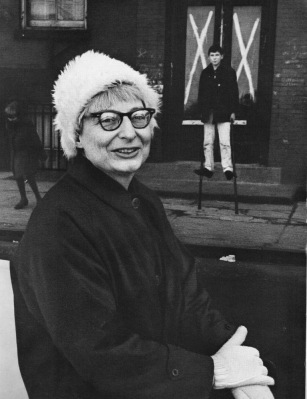 Jane Jacobs with son, Ned, in Greenwich Village, 1962