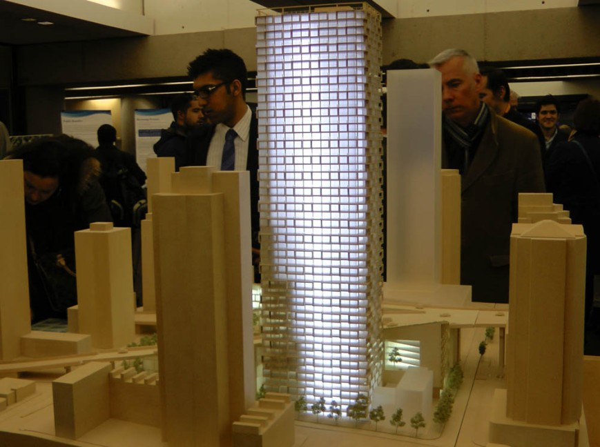 model of 52-storey tower proposal (lit)