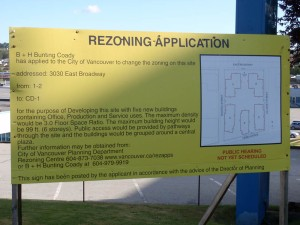 3030 Broadway rezoning sign