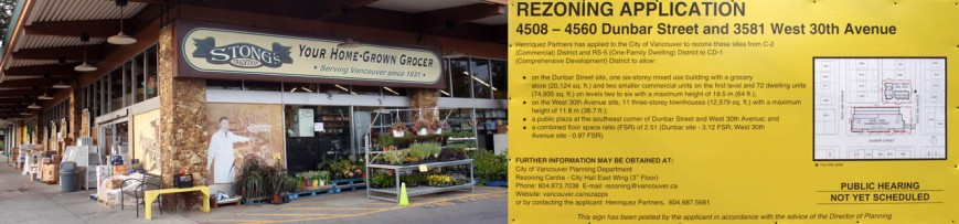Rezoning sign and Stong's block