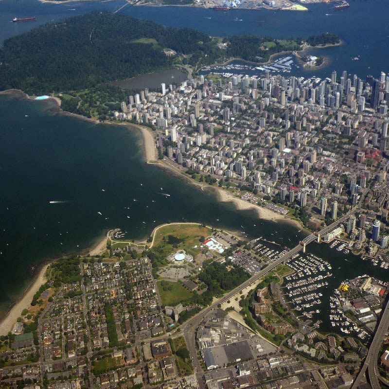 Aerial view of Vanier Park and the West End