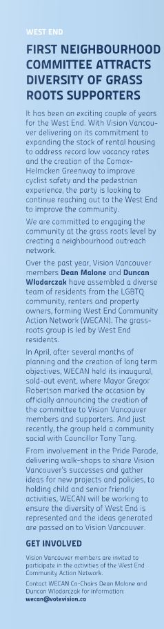 WECAN West End in Vision Vancouver newsletter summer 2013