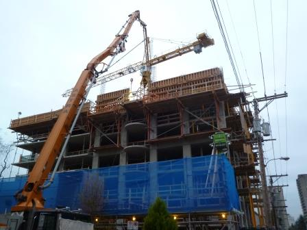 Westbank tower construction Sept 2013 on St Johns site comox broughton