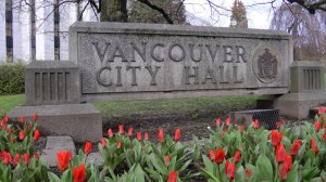 City Hall sign tulips