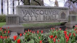 City Hall sign tulips
