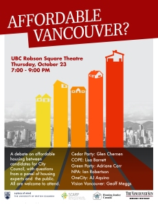 Affordable Vancouver, UBC Robson Sqr debate, 23-Oct-2014, POSTER-rev