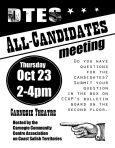 CCCA Carnegie Centre DTES candidates debate 23-Oct-2014 poster