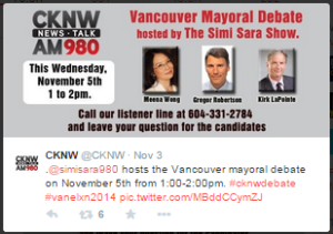 CKNW Simi Sara Mayoral Debate 5-Nov-2014