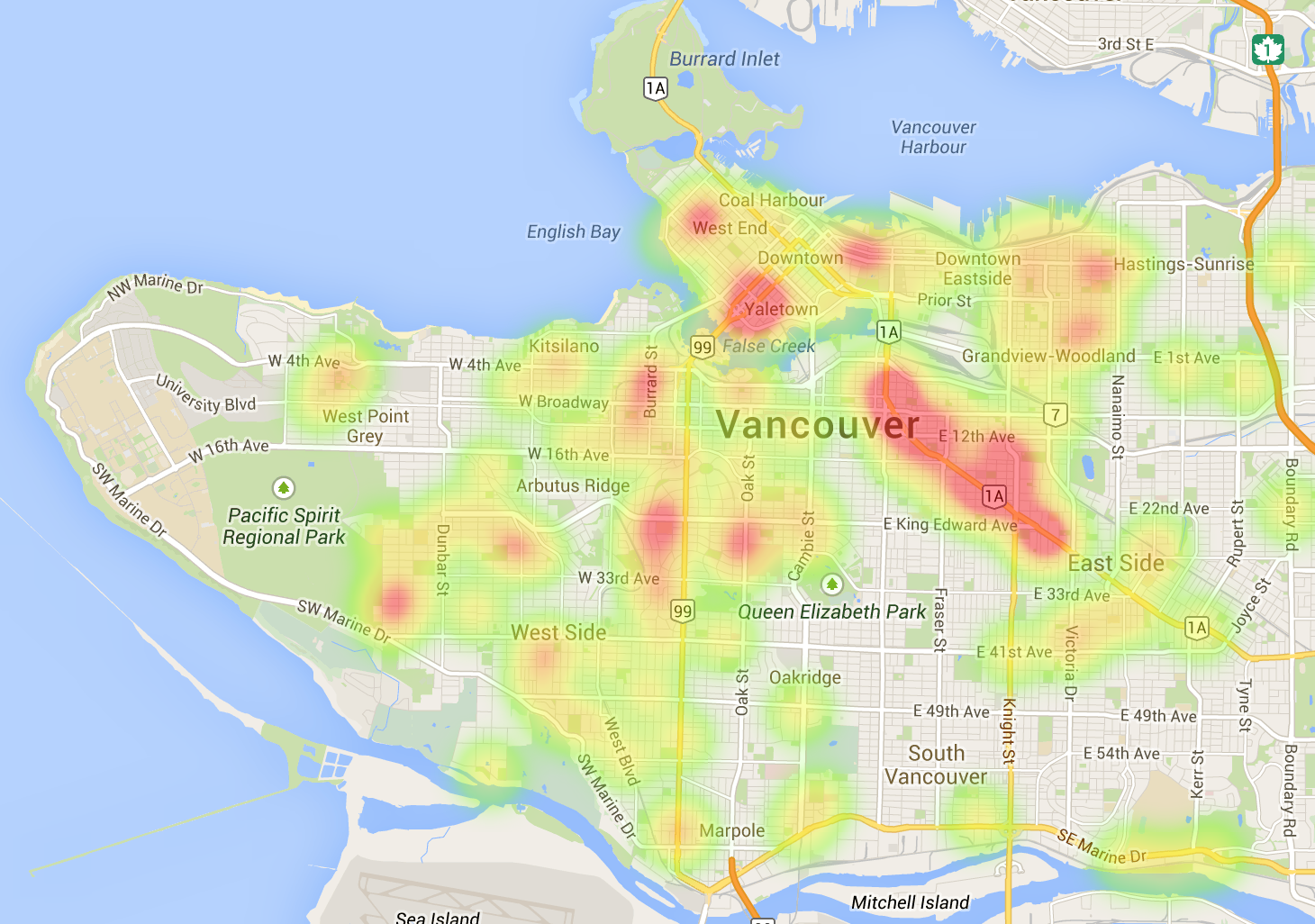 Map mashup and heat map show development hotspots in vancouver vancouver development heatmap 2 sep 2014 cityhallwatch credit google maps gumiabroncs Images
