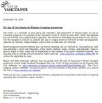 CoV Engineering ltr re City Streets election advert 30-Sep-2014