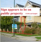 Appears to be an election sign violation E28th-Knight, 4 pm, 4-Oct-2014