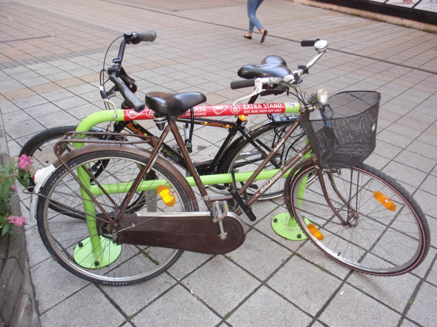 Extra stands make for handy bike racks, but should be reserved for Bubi bikes only