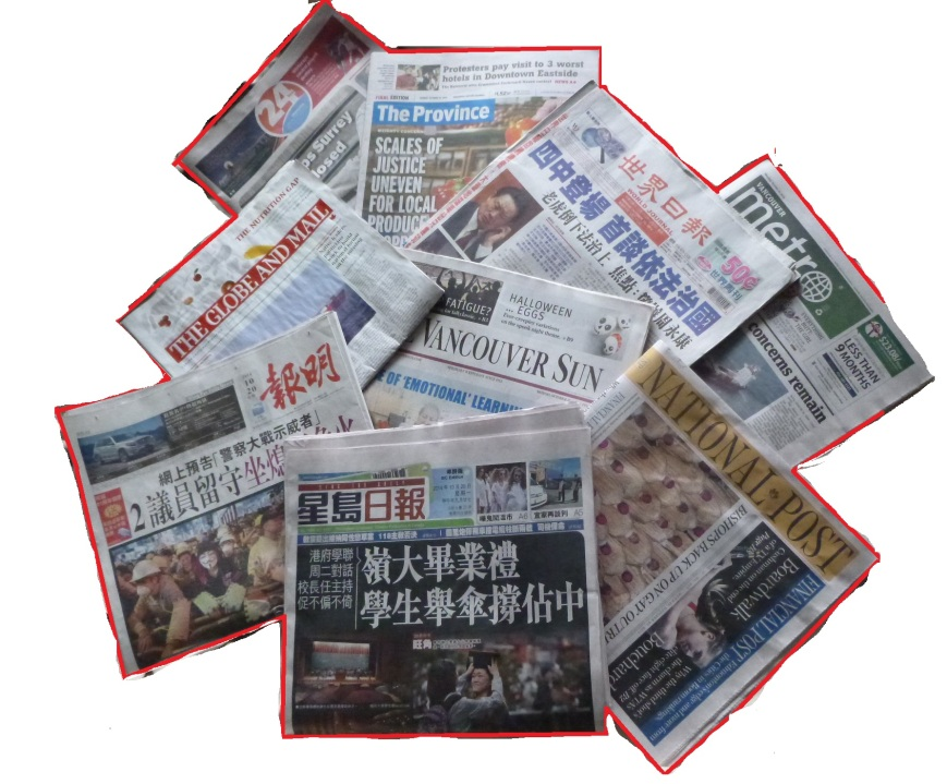 Vancouver papers front pages 20-Oct-2014a