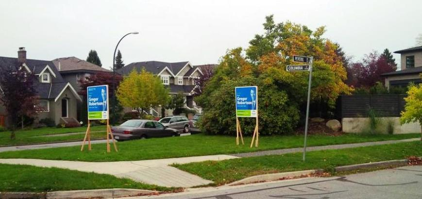 Illegally placed Vision Vancouver signs at Columbia & Peveril 24-Oct-2014