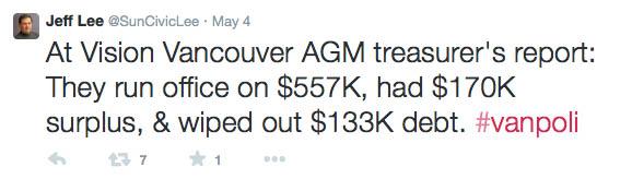AGM Vision tweet 2013 expenses