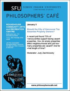 SFU Philosophers Cafe - absentee property owner tax, 5-Jan-2015