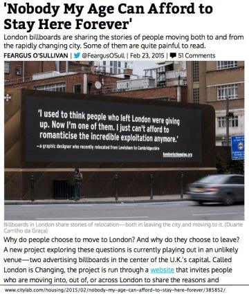 London billboards on affodabiilty