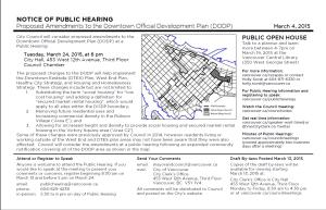 CoV Public Hearing card for DODP public hearing 24-Mar-2015