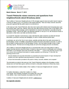 CVN media release 17-Mar-2015 Transit plebiscite raises concerns Broadway