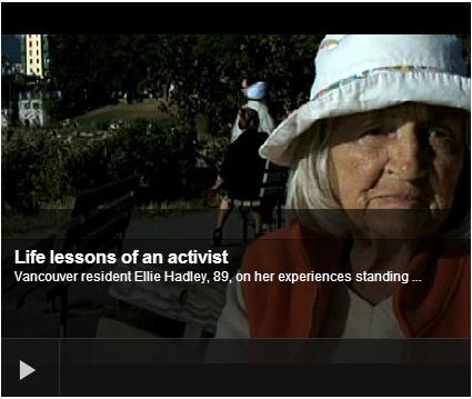 Eleanor Hadley, CBC interview, Life Lessons of an Activist, D Arrowsmith Jan 2011