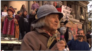 Eleanor Hadley at Occupy Vancouver, October 15, 2011. Vancouver Art Gallery). Image courtesy Daniel J Pierce YouTube
