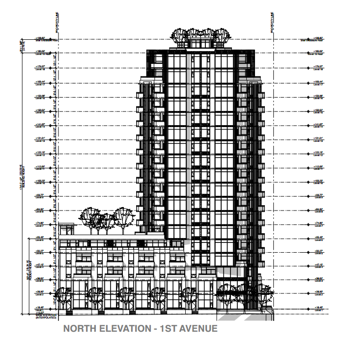 2-26 East 1st Ave North Elevation, 18-storey tower