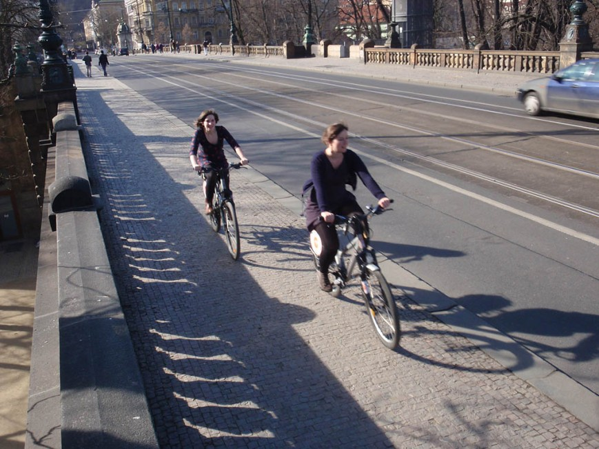 Prague bike shared pathway