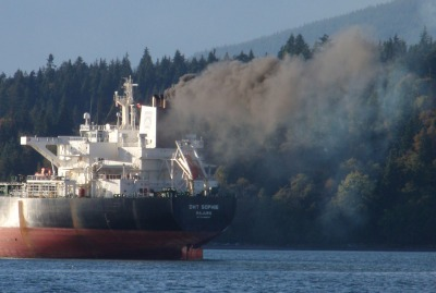 Oil tanker preparing to dock at Kinder Morgan terminal