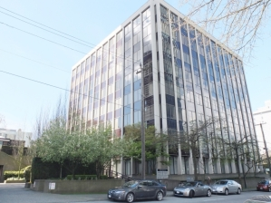 Current 8-storey office building at 1550 Alberni, photo credit Vancouver Sun