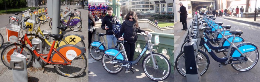 Public Bike Share in Vienna (left) and London (centre, right)