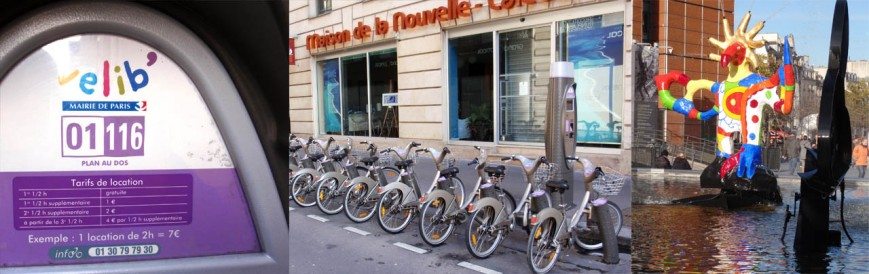 Velib public bike share in Paris