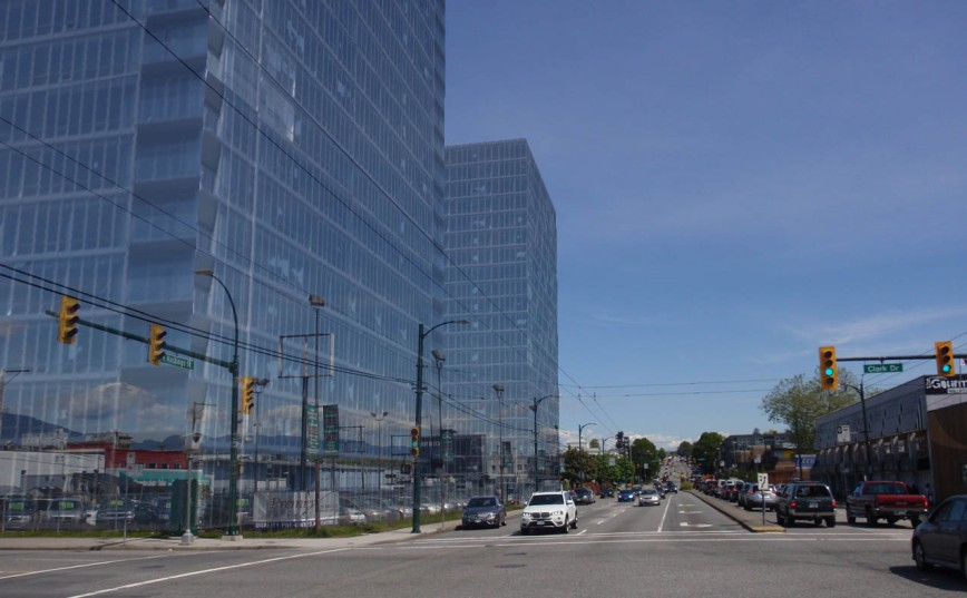Hastings Corridor: Outline of 20-storey tower (at Clark), 15-storey tower