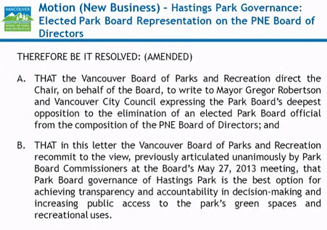Motion Hastings Park Governance