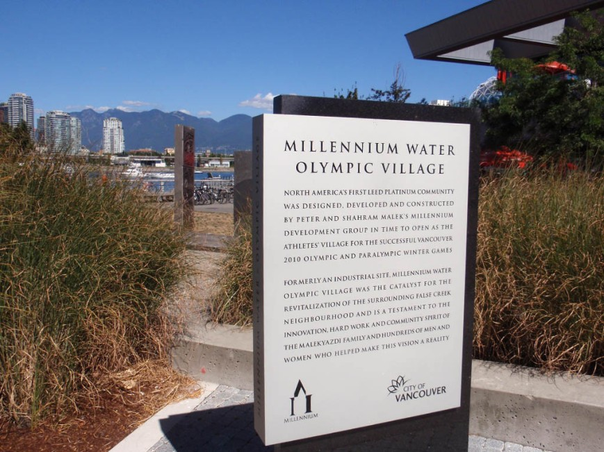 LEED Platinum claim on sign for Olympic Village