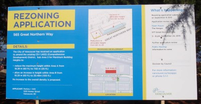 rezoning application info sign