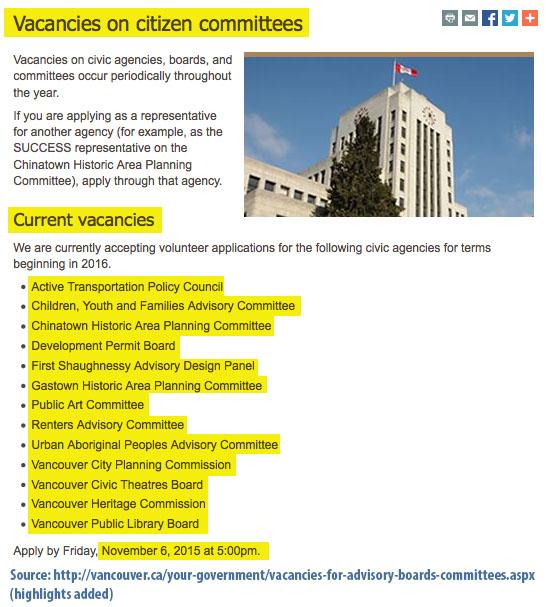 vacancies committees