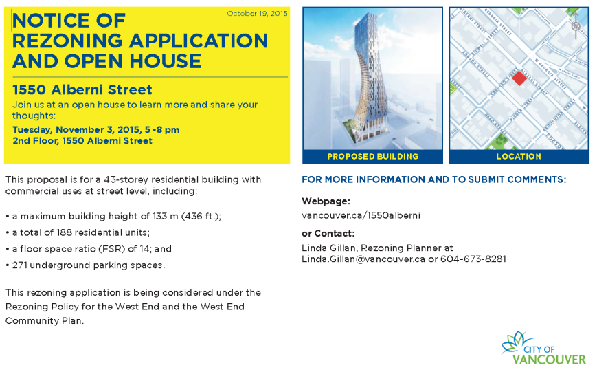 1550 Alberni open house card for 3-Nov-2015