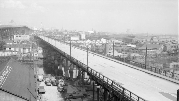New and old Granville Bridges, Walter E Frost, Vancouver Archives