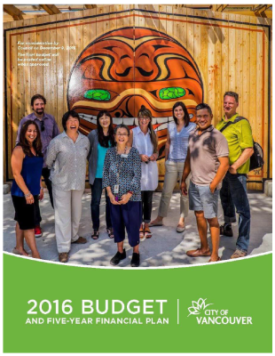 CoV 2016 Budget cover page