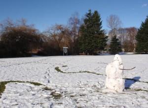 snowman at Trout Lake