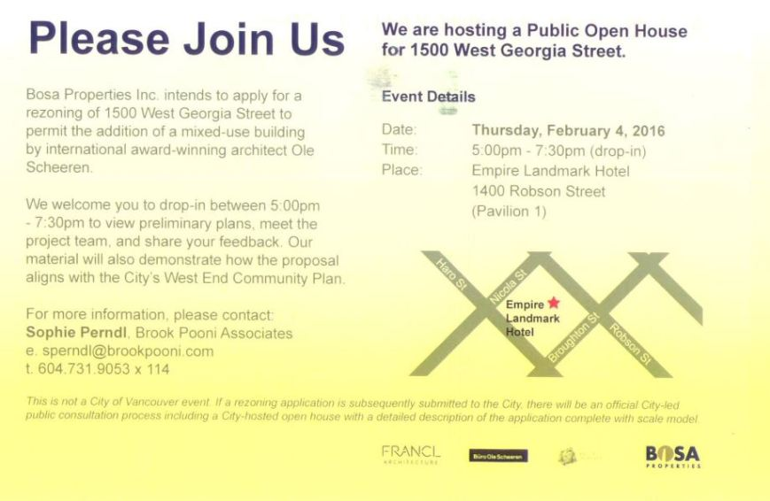 Bosa 1500 West Georgia image proposed, open house invite card, 4-Feb-2016