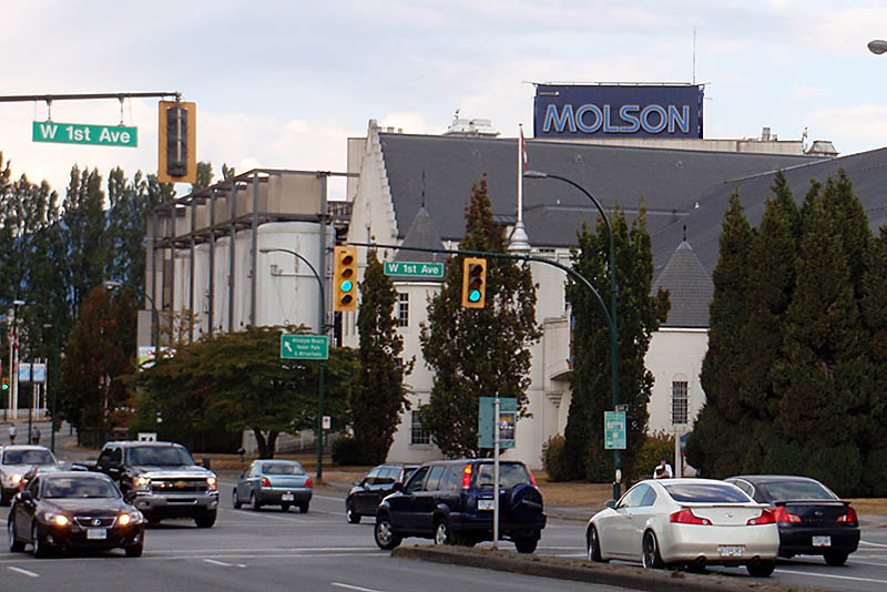 Molson Plant (in background) as seen from Burrard and West 1st Avenue