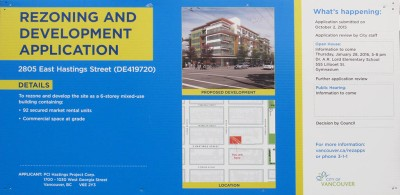 rezoning sign 2805 East Hastings