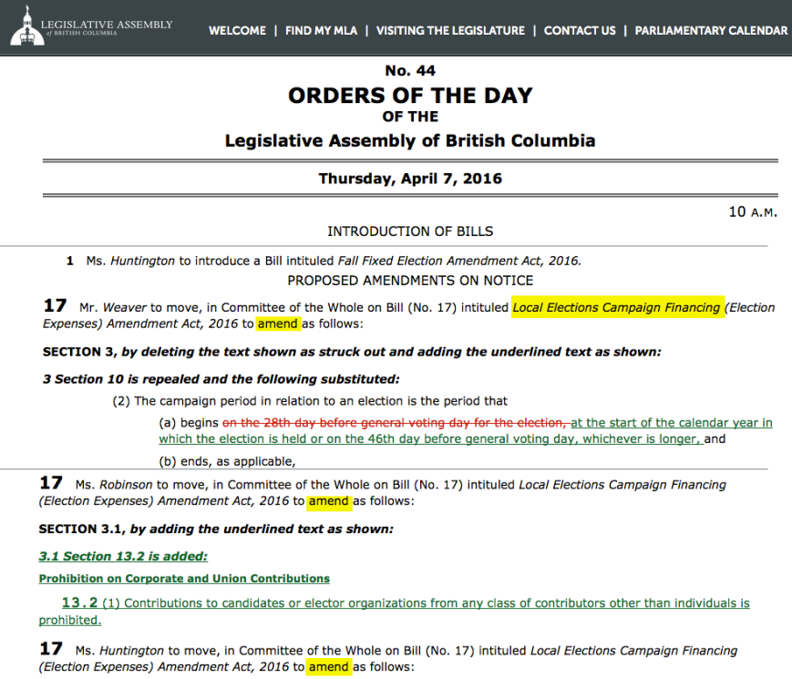 Bill 17 amendments