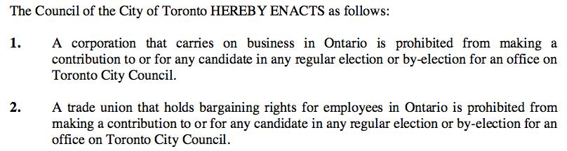 Toronto corporate union donation ban