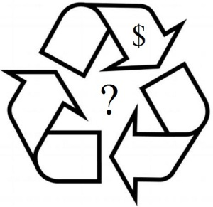 Recycling logo with question mark