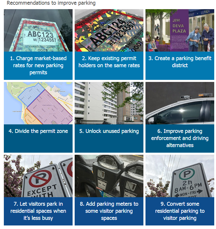 CoV West End parking 9 recommendations July 2016
