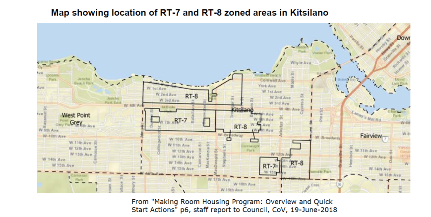 CoV map Kitsilano RT-7 RT-8 zones, June 2018
