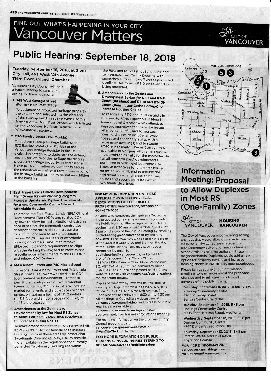 CoV Public Hearing notice Courier for 18-Sep-2018