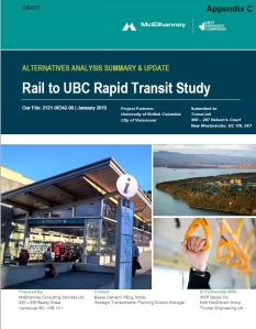 cover of mcelhanney report rail to ubc jan 2019